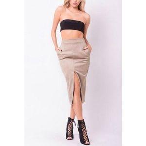 Label Suede Midi Skirt